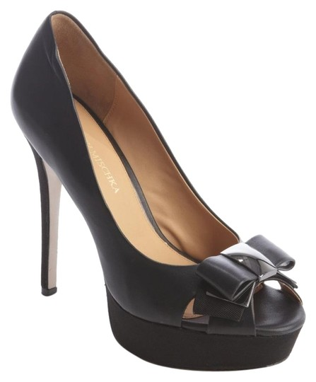 Bagdley Mischka Peep Toe Platform Black Pumps