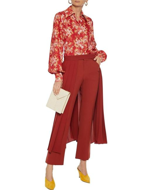Item - Brick Red 6us Erduna Open Front Pleated Skirt Size 6 (S, 28)
