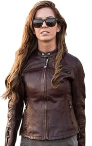 Roland Sands Biker Leather Classic Brown Leather Motorcycle Jacket