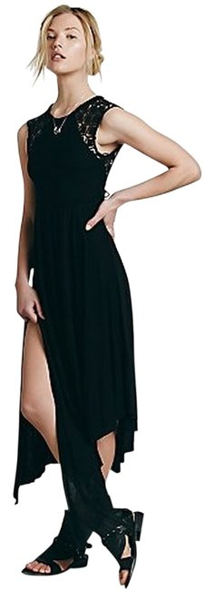 Maxi Dress by Free People Black Asymetrical Braided Straps Metal Accents Afternoon Delight