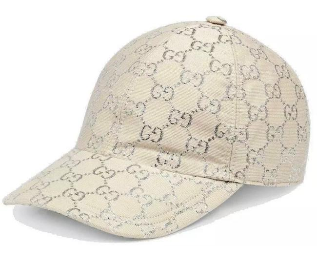 Item - White Silver Lame New Gg Sparkling Current Wool Logo Baseball Cap 57/Medium Hat