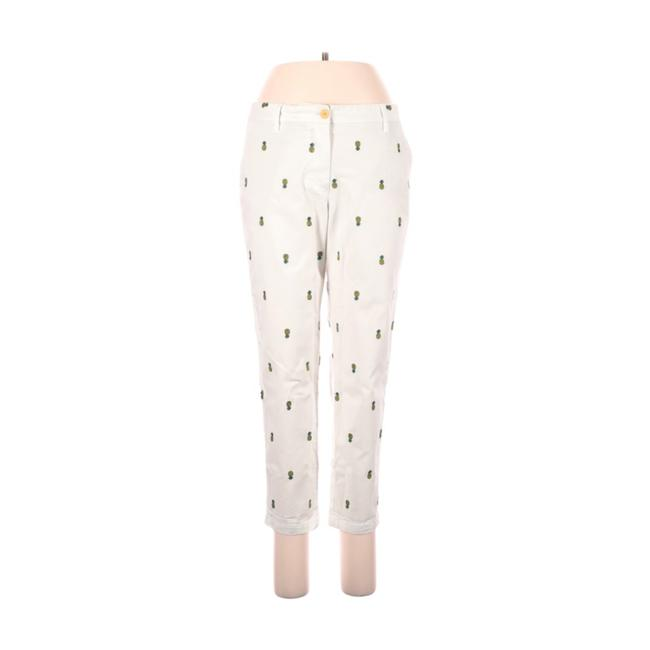 Item - White Pineapple Embroidered Pants Size Petite 8 (M)