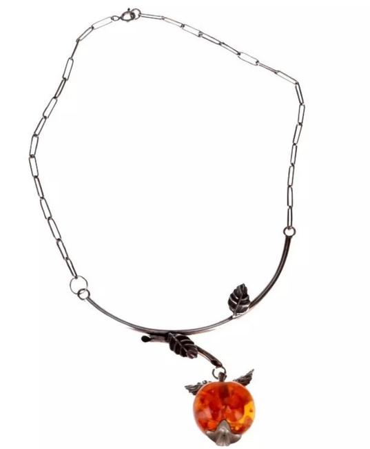 Item - Cognac Amber Real Baltic In Sterling Silver Unique One Of A Kind Apple Necklace