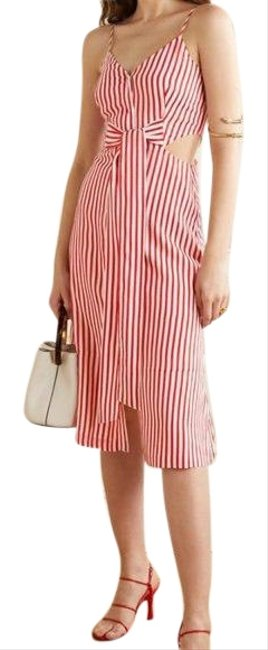 Item - Red Tie-front Cutout Striped Jacquard Mid-length Cocktail Dress Size 2 (XS)
