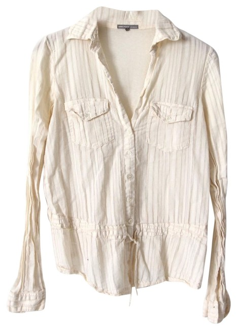 James Perse Cream Sheer Cotton Button-down Top Size 2 (XS) James Perse Cream Sheer Cotton Button-down Top Size 2 (XS) Image 1