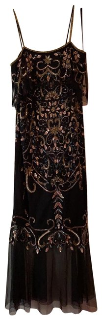 Item - Black with Pink and Gold Beads Black Tulle At Bottom Party Mid-length Night Out Dress Size 8 (M)