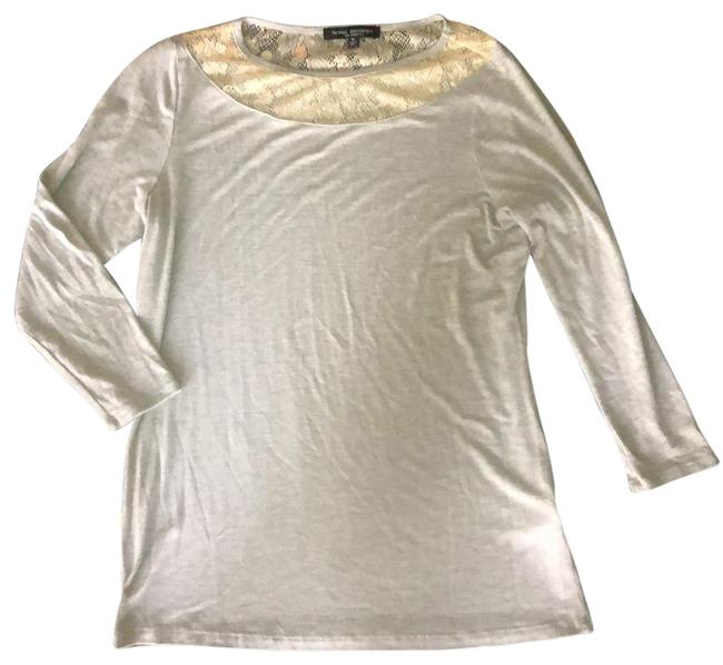 Item - Gray with Cream Lace Trim Soft Tunic Size 8 (M)