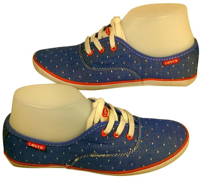 Item - Blue W/White Polka Dots Canvas Woman's W/White Lace-up Dress Casual 7.5. Sneakers Size US 7.5 Regular (M, B)