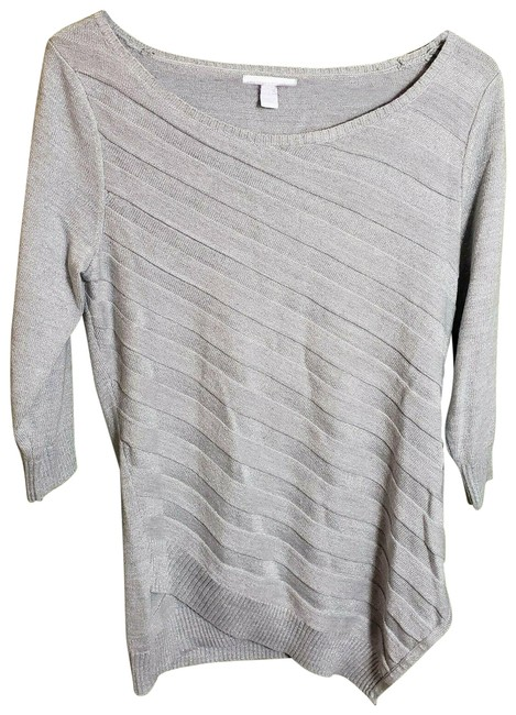 Item - Grey Asymmetrical Hem Metallic Sweater Sweatshirt/Hoodie Size 4 (S)