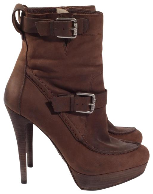 Item - Brown By Leather Stiletto Platform Ankle Boots/Booties Size US 6 Regular (M, B)