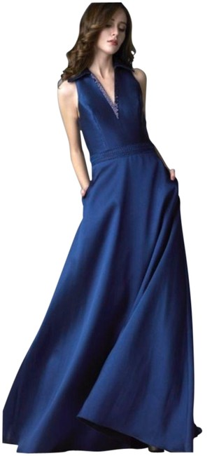 Item - Blue Fully Lining D7792l Long Casual Maxi Dress Size 12 (L)