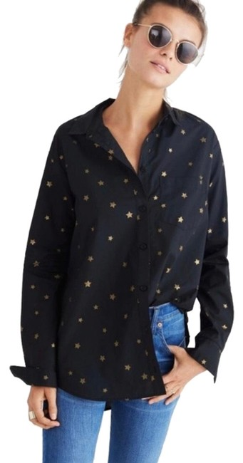 Item - Black & Gold Star Button-down Top Size 2 (XS)