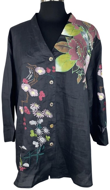 Item - Multicolor Santa Monica 1x Floral Embroidered Rayon Bamboo Button-down Top Size 20 (Plus 1x)