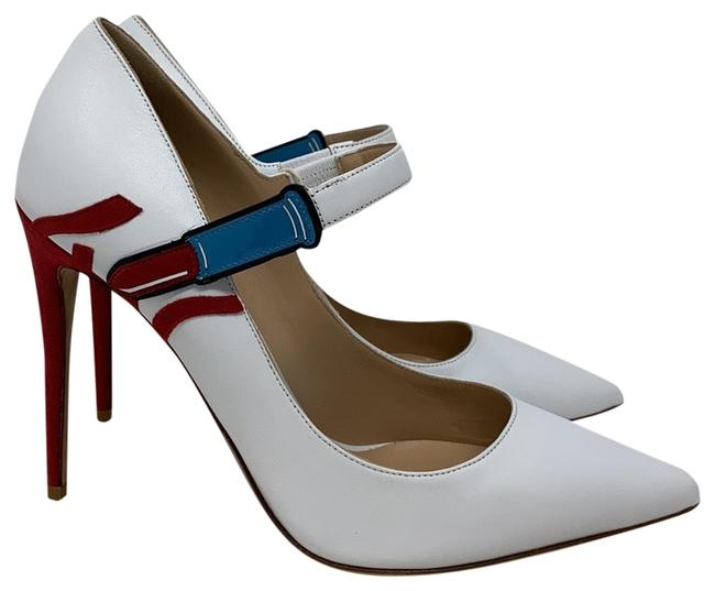 Item - White Red Blue New Mary Jane Pumps Size EU 36 (Approx. US 6) Regular (M, B)