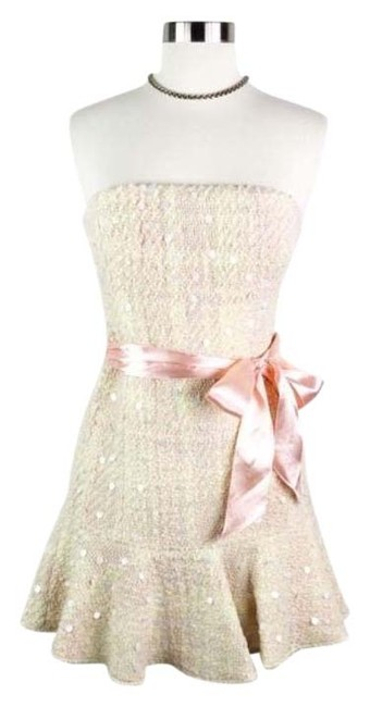 Item - Cream Wool Sequin Belted Strapless Short Cocktail Dress Size Petite 0 (XXS)