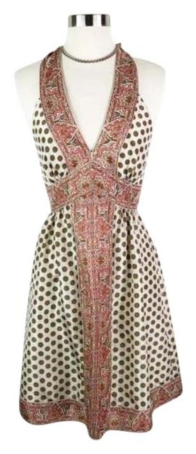 Item - Cream Tan Silk Party Mid-length Cocktail Dress Size 0 (XS)