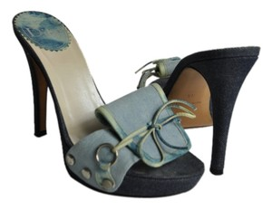 Dior Light And Dark Blue Two Tone Denim Sandals