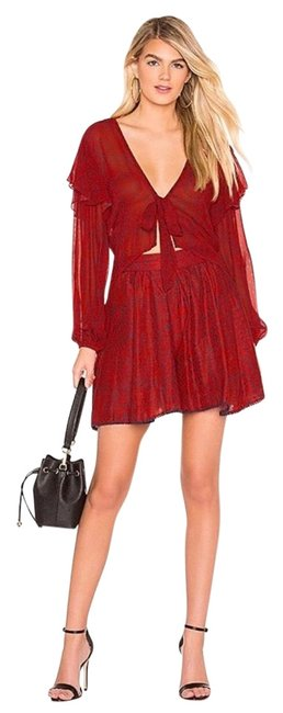 Item - Red Chiffon Wrap Blouse and Shots Matching Set Skirt Suit Size 6 (S)