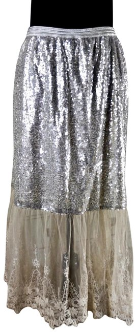 Anthropologie Silver Meribeth Sequined Lace New Skirt Size 12 (L, 32, 33) Anthropologie Silver Meribeth Sequined Lace New Skirt Size 12 (L, 32, 33) Image 1
