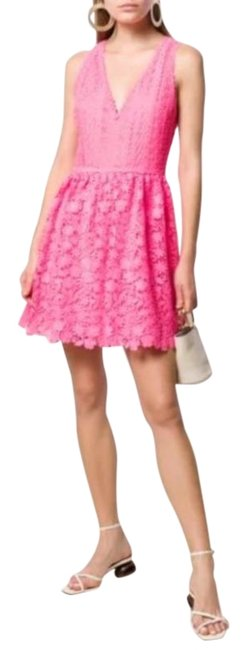 Item - Pink Iris Lace Fit & Flare New Short Cocktail Dress Size 8 (M)
