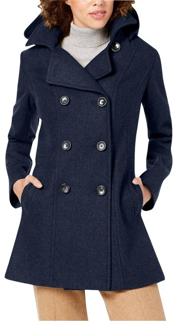 Nautica Navy Double-breasted Hooded Coat Size 6 (S) Nautica Navy Double-breasted Hooded Coat Size 6 (S) Image 1