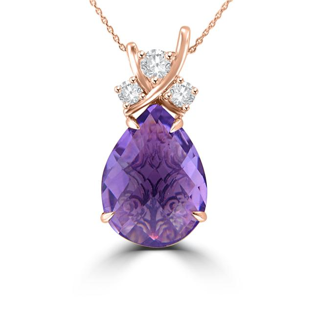 Item - Rose Gold 7.45 Ct Pear Shape Amethyst Round Cut Diamond Pendant 14 Necklace