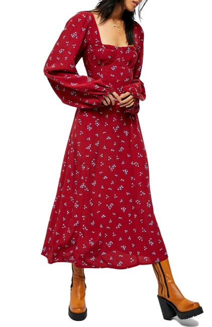 Item - Maroon Iris Floral Midi Long Casual Maxi Dress Size 4 (S)