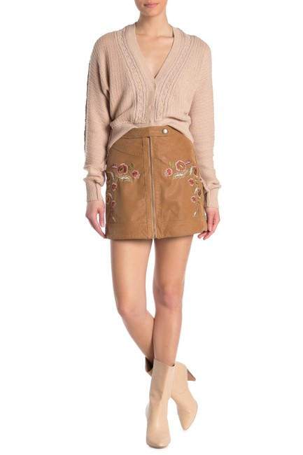 Item - Brown Alanis Floral Embroidered Faux Leather Skirt Size 10 (M, 31)
