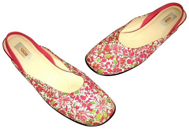 Item - Pink Lilly Pulitzer Floral Canvas Leather Slingback Flats B Sandals Size US 10 Regular (M, B)