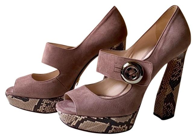 Item - Pink Silver Beige Dusty Suede & Python Mary Jane Heels Platforms Size US 6 Regular (M, B)
