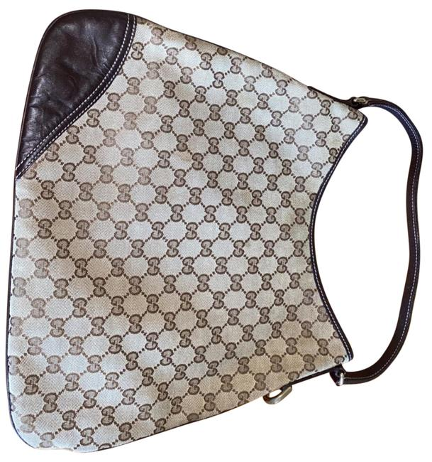 Item - Britt Brown and Tan Silver Hardware Canvas Leather Hobo Bag