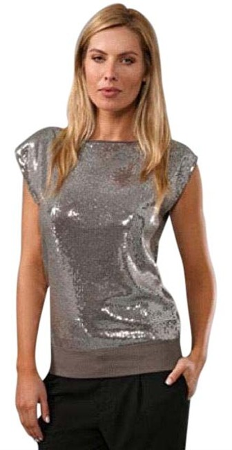 Item - Alice+olivia Veronica Sequin Keyhole Open Back Silver and Gray Top