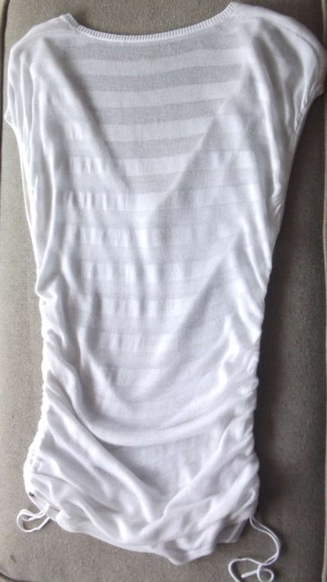 New York & Company V-neck Sheer Small Cap Sleeve Sexy Chic Ruched Top White