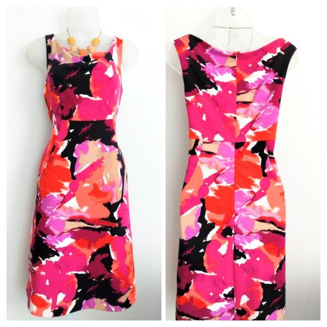 Item - Red and Pink Alder Watercolor Print Mid-length Work/Office Dress Size 10 (M)