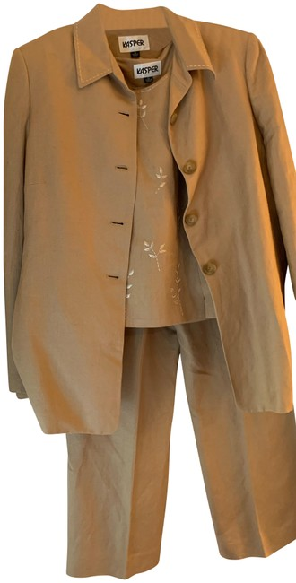 Item - Brown Three Piece Lined with Embroidery Pant Suit Size 12 (L)