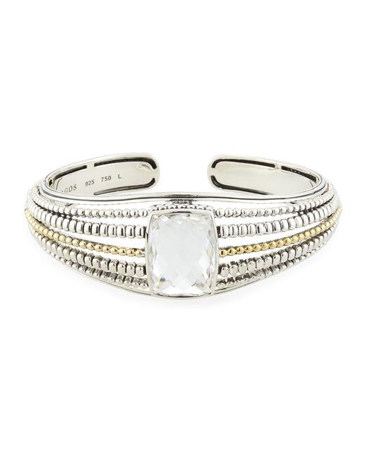 Lagos Silver Gold Prism White Topaz Caviar Beaded Hinge Cuff and 18k Bracelet Lagos Silver Gold Prism White Topaz Caviar Beaded Hinge Cuff and 18k Bracelet Image 1