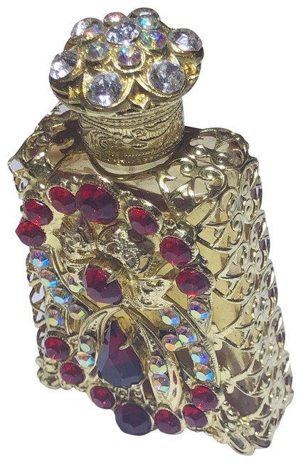 Item - Red Rhinestone Perfume Bottle with Glass Stopper Fragrance