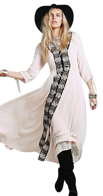 Item - Pink & Black Horizon Kimono Journey To The Embroidered Long Casual Maxi Dress Size 6 (S)