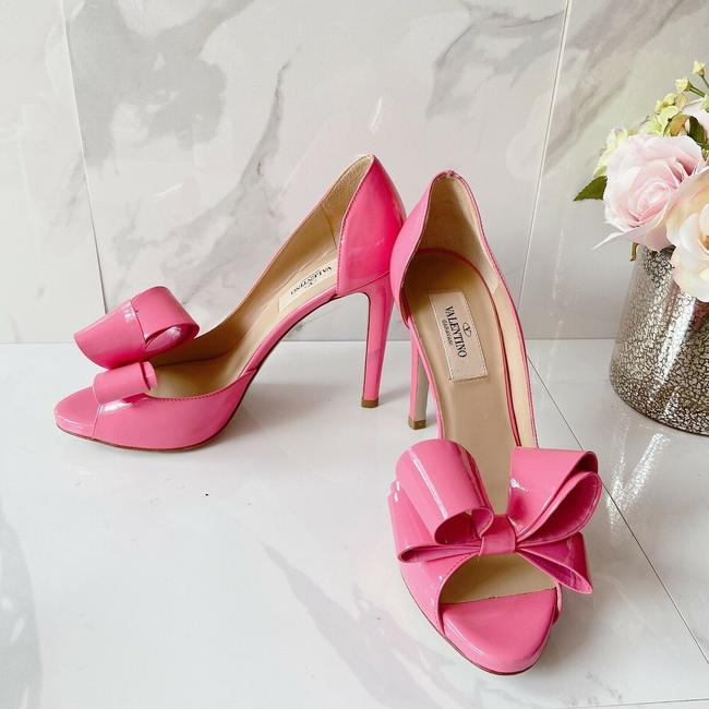 Item - Pink Garavani Couture Bow Platform Peep Toe D'orsay Pumps Size US 6 Regular (M, B)