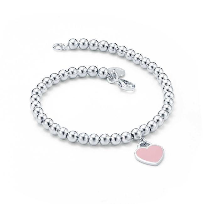 Item - Blue Mini Return To Pink Enamel Heart Beads Bracelet