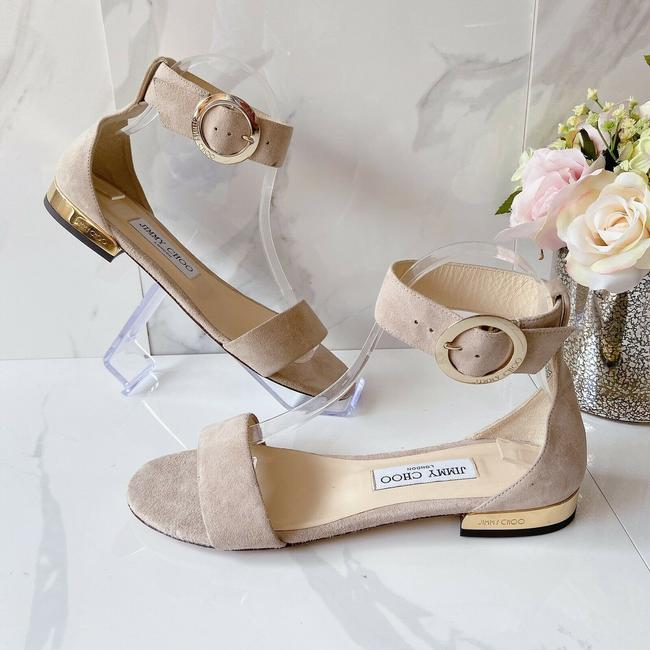 Item - Pink Nude Jamie Ankle Strap Logo Flat Suede 37.5 Sandals Size US 7.5 Regular (M, B)
