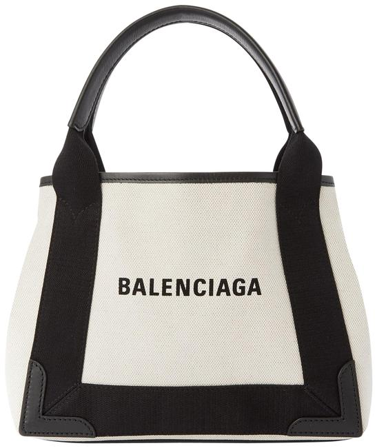 Balenciaga Cabas XS Navy Leather-trimmed Printed Tote Black / Off-white Canvas / Leather Satchel Balenciaga Cabas XS Navy Leather-trimmed Printed Tote Black / Off-white Canvas / Leather Satchel Image 1
