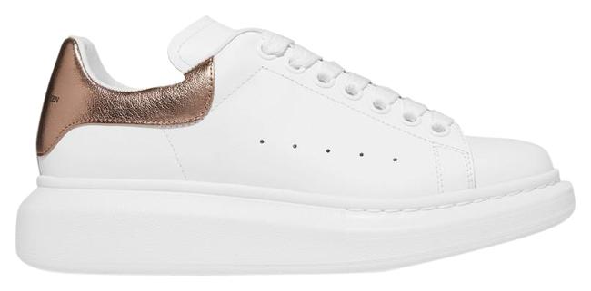 Item - White Gold Metallic-trimmed Leather Exaggerated-sole Sneakers Size EU 37.5 (Approx. US 7.5) Regular (M, B)