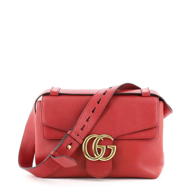 Gucci GG Marmont Small Red Leather Shoulder Bag Gucci GG Marmont Small Red Leather Shoulder Bag Image 1