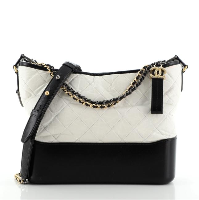 Chanel Gabrielle Bicolor Quilted Aged Calfskin Medium White Leather Hobo Bag Chanel Gabrielle Bicolor Quilted Aged Calfskin Medium White Leather Hobo Bag Image 1