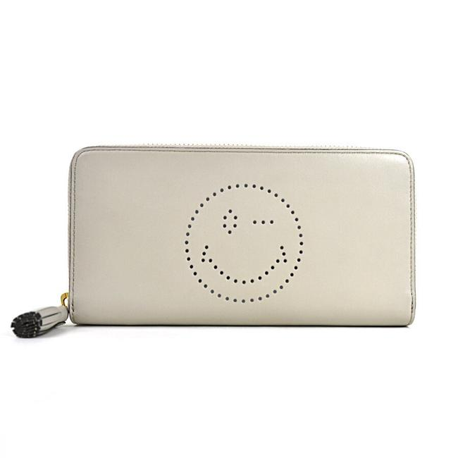 Anya Hindmarch Light Gray Round Zipper Large Zip Round Wink Leather Ladies Wallet Anya Hindmarch Light Gray Round Zipper Large Zip Round Wink Leather Ladies Wallet Image 1