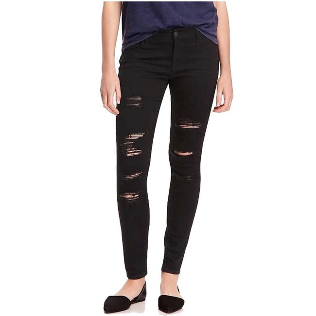 Item - Black Distressed Destroyed Holes Rockstar Super Leg Mid Rise Ripped Skinny Jeans Size 27 (4, S)