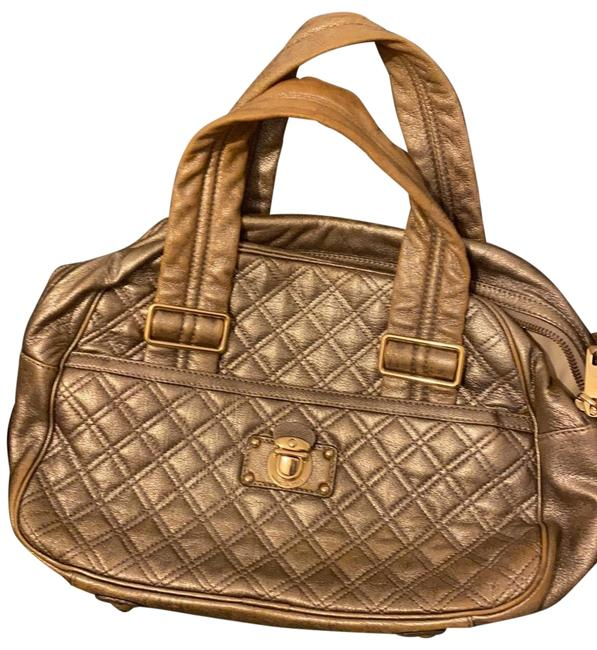Item - Quilted with Hardware Antique Gold Leather Satchel