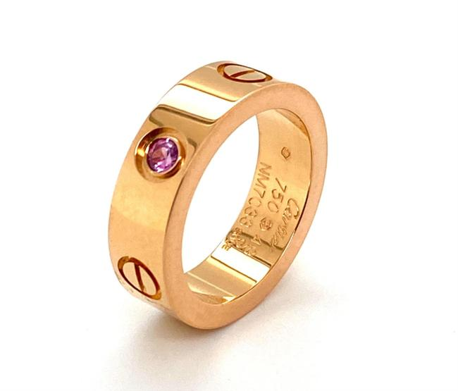Cartier (23742 C) Love Pink Sapphire 18k Rose Gold Band Size 49 Ring Cartier (23742 C) Love Pink Sapphire 18k Rose Gold Band Size 49 Ring Image 1