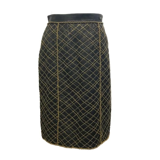 Item - Black Gold Lambskin Leather Skirt Size 2 (XS, 26)